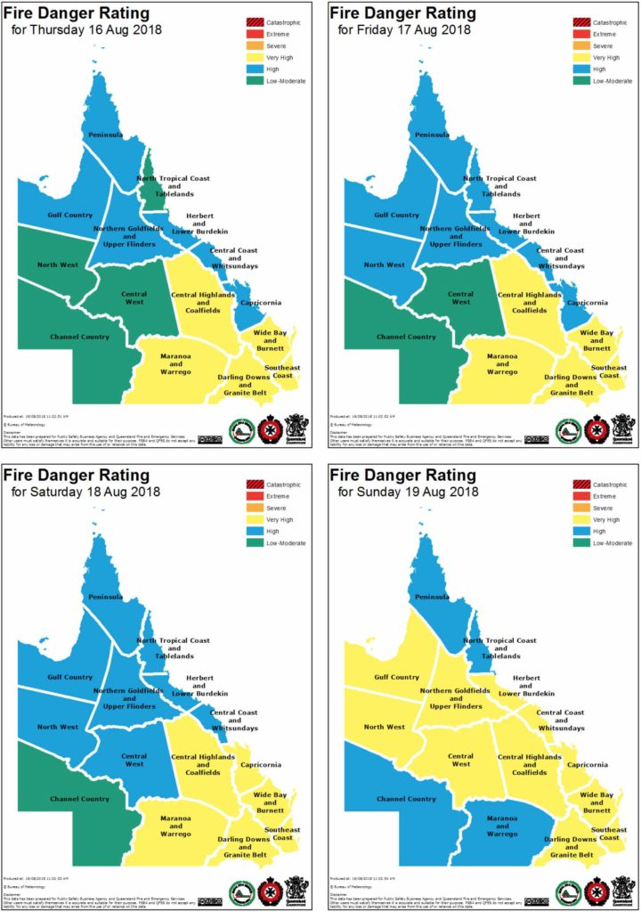 Fire Danger Rating via the Rural Fire Service in QLD for the next several days. Some days may increase to Severe Threats.