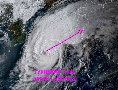 Typhoon Trami now making landfall over Japan!